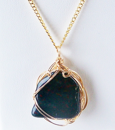 Bloodstone and gold wire wrapped pendant genuine zoom mozeypictures Images