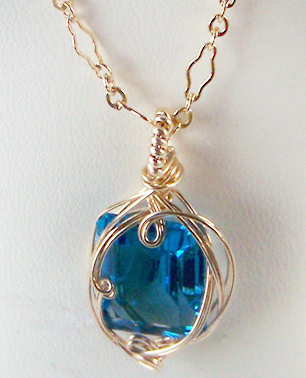 Blue topaz and gold wire wrapped pendant genuine blue topaz and gold wire wrapped pendant genuine zoom aloadofball Image collections