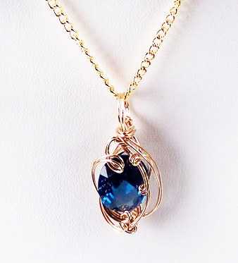 Blue Zircon December Birthstone and Gold Wire Wrapped Pendant (Lab ...
