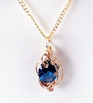 Blue Zircon December Birthstone and Gold Wire Wrapped Pendant (Lab Created Stone)