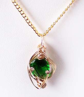 Emerald may birthstone and gold wire wrapped pendant lab created stone 1996 2018 site design and jewelry designs copyright your name in gold century portraits inc all rights reserved mozeypictures Images