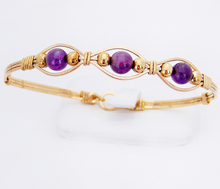 Gold Gemstone 3-Bead Bracelet