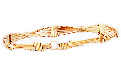 Gold Criss Cross Wire Bracelet