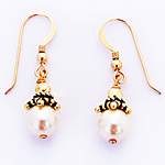 Gold Swarovski Pearl Earrings