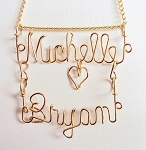 Gold Wire Double Name Pendant