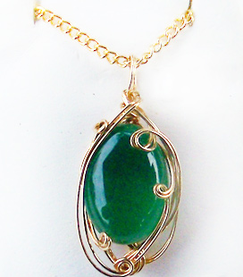 Green onyx and gold wire wrapped pendant genuine 1996 2018 site design and jewelry designs copyright your name in gold century portraits inc all rights reserved aloadofball Images