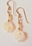 Mother of Pearl Carved Rose Earrings