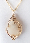 Mother of Pearl and Gold Wire Wrapped Pendant (Genuine)