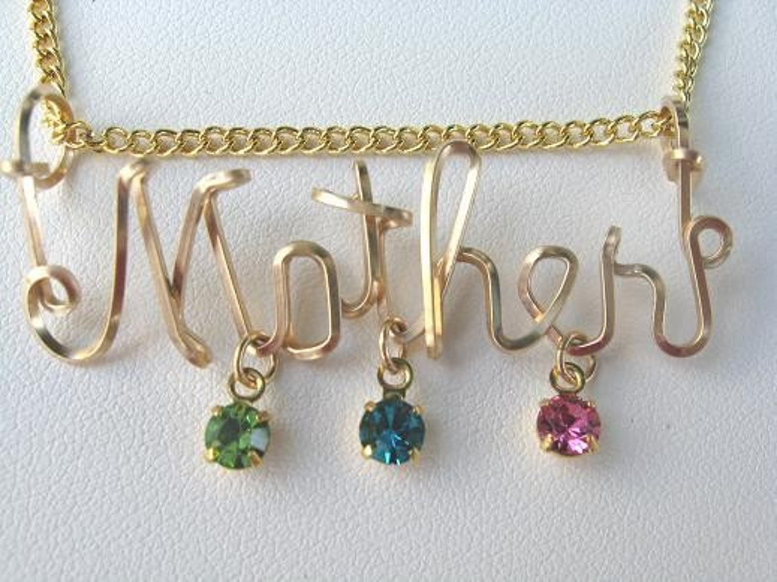 Gold Wire Mother's Pendant