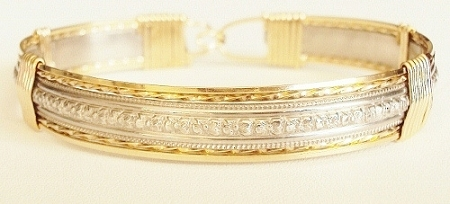 Two Tone Silver and Gold Pattern Bracelet