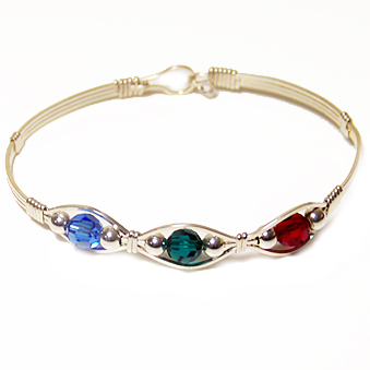 Silver Swarovski Crystal Mother's Bracelet