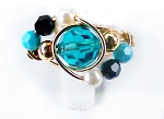 Teal Swirl Swarovski Crystal Gold Ring