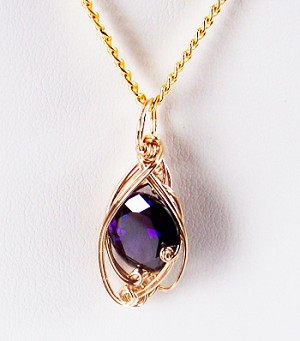 Amethyst February Birthstone and Gold Wire Wrapped Pendant (Lab Created Stone)