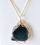 Bloodstone and Gold Wire Wrapped Pendant (Genuine)