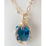 Blue Topaz and Gold Wire Wrapped Pendant (Genuine)