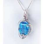 Blue Topaz and Silver Wire Wrapped Pendant (Genuine)