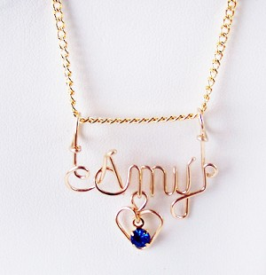 Gold Wire Name Pendant With Birthstone Heart