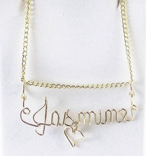 Gold Wire Name Pendant With Heart