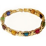 Gold Multi-Colored Crystal Cube Bracelet
