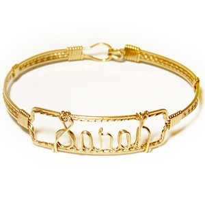Gold Wire Name Bracelet