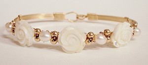 Gold Mother of Pearl Rose Bracelet