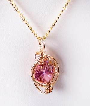 Pink Topaz October Birthstone and Gold Wire Wrapped Pendant (Lab Created Stone)