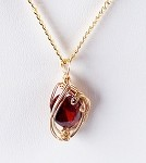 Ruby July Birthstone and Gold Wire Wrapped Pendant (Lab Created Stone)
