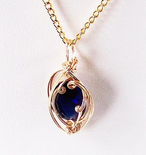 Sapphire September Birthstone and Gold Wire Wrapped Pendant (Lab Created Stone)