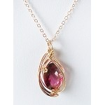 Scarlet Topaz and Gold Wire Wrapped Pendant (Genuine)