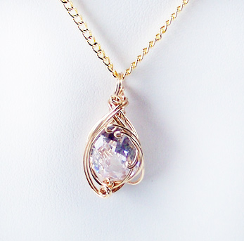 Crystal April Birthstone and Gold Wire Wrapped Pendant (Lab Created Stone)