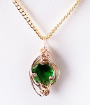 Emerald May Birthstone and Gold Wire Wrapped Pendant (Lab Created Stone)