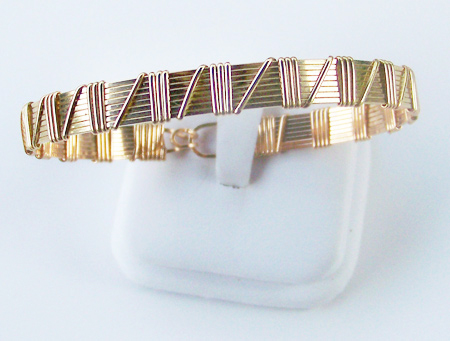 8 Band Gold Wire Wrap Bracelet
