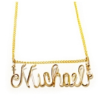 Gold Square Wire Name Pendant
