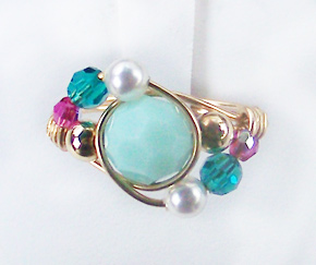 Jade Swirl Swarovski Crystal Gold Ring