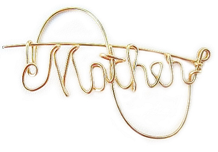Gold Wire Mother's Pin