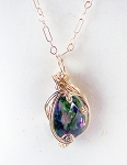Mystic Topaz and Gold Wire Wrapped Pendant (Genuine)