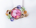 Pink Swirl Swarovski Crystal Gold Ring