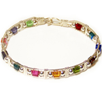 Silver Multi-Colored Crystal Cube Bracelet