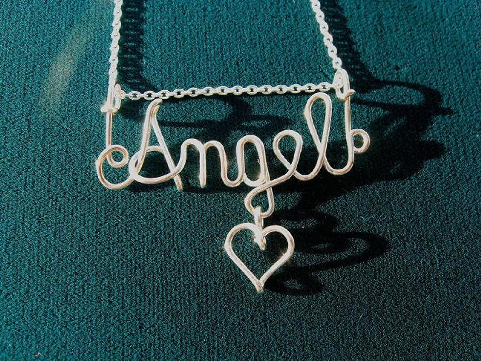 Silver Wire Name Pendant With Heart