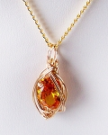 Golden Topaz and Gold Wire Wrapped Pendant (Lab Created Stone)