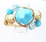 Turquoise Swarovski Crystal Gold Ring