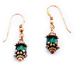 Emerald Swarovski Crystal Earrings with French Hooks